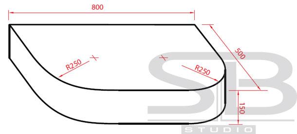 Фото - Столешница для ванной комнаты RX 80-50-15RL